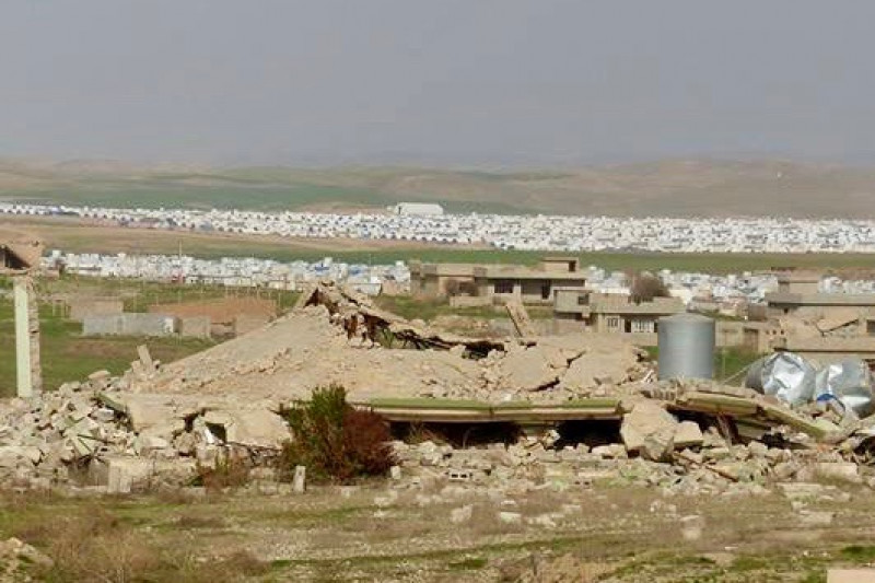 view of camp amidst rubble