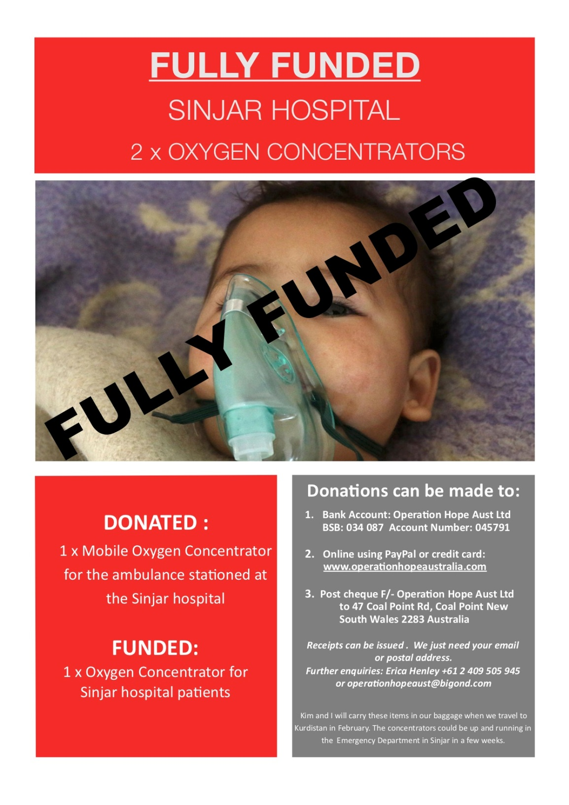 FULLY FUNDED: 2 x Oxygen Concentrators for Sinjar Hospital